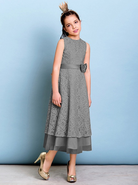 A-Line Jewel Neck Tea Length All Over Floral Lace Junior Bridesmaid Dress With Sash / Ribbon / Bow(S) / Flower / Natural_25