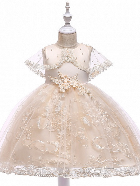 Princess Medium Length Wedding / First Communion Flower Girl Dresses - Lace / Tulle / Mikado Sleeveless Jewel Neck With Pearls / Appliques / Bandage_5