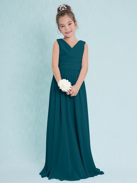 Sheath / Column V Neck Floor Length Chiffon Junior Bridesmaid Dress With Criss Cross / Ruched / Natural_34