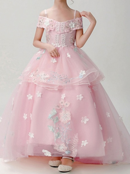 Ball Gown Sweep / Brush Train Pageant Flower Girl Dresses - Polyester Short Sleeve Spaghetti Strap With Appliques_4