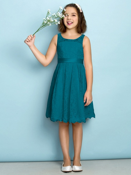 A-Line Scoop Neck Knee Length All Over Floral Lace Junior Bridesmaid Dress With Lace / Natural / Mini Me_26
