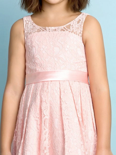 A-Line Scoop Neck Knee Length All Over Floral Lace Junior Bridesmaid Dress With Lace / Natural / Mini Me_6