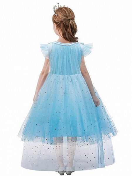 Princess / Ball Gown Knee Length Wedding / Party Flower Girl Dresses - Tulle Cap Sleeve Jewel Neck With Tier / Paillette_2