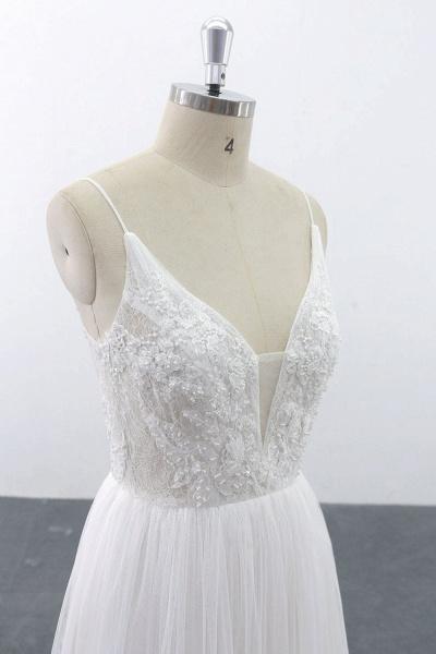 SD1955 Spaghetti Strap Pearls Boho Wedding Dress_6