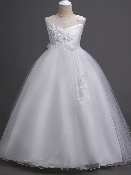 Princess Long Length Wedding / First Communion Satin / Tulle Sleeveless Jewel Neck With Belt / Appliques