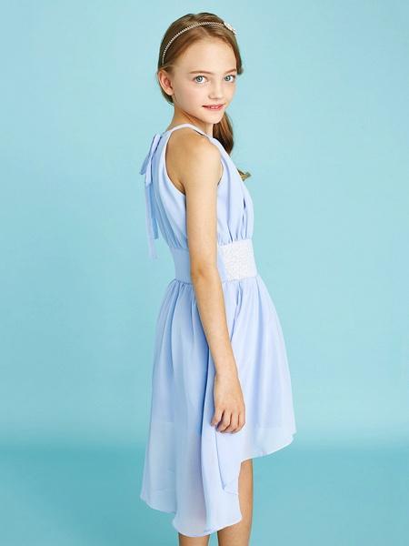 Sheath / Column Jewel Neck Asymmetrical Chiffon Junior Bridesmaid Dress With Sequin / Natural_9