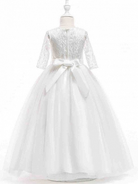 Princess Ankle Length Wedding / First Communion Flower Girl Dresses - Polyester Half Sleeve Jewel Neck With Lace_3