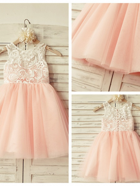 A-Line Knee Length Pageant Flower Girl Dresses - Lace / Tulle Sleeveless Jewel Neck With Lace / Pleats_7