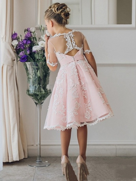 Princess / Ball Gown Knee Length Wedding / Party Flower Girl Dresses - Lace Short Sleeve Jewel Neck With Bow(S) / Appliques_2