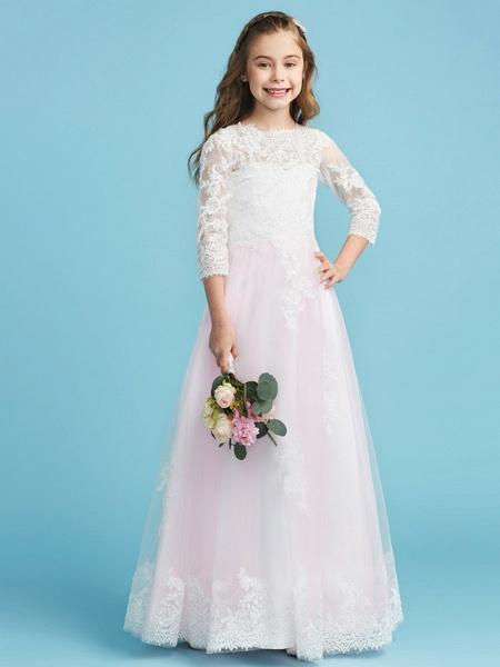 Princess / A-Line Crew Neck Floor Length Lace Junior Bridesmaid Dress With Lace_5