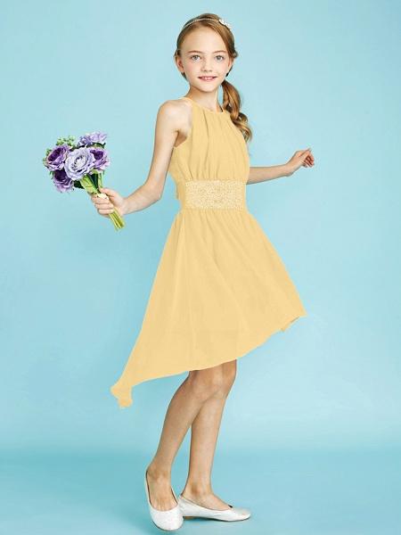 Sheath / Column Jewel Neck Asymmetrical Chiffon Junior Bridesmaid Dress With Sequin / Natural_39