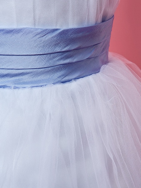 Princess / A-Line Knee Length Tulle Sleeveless Straps With Feathers / Fur / Sash / Ribbon / Ruched_6