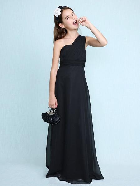 Sheath / Column One Shoulder Floor Length Chiffon Junior Bridesmaid Dress With Side Draping / Natural_3