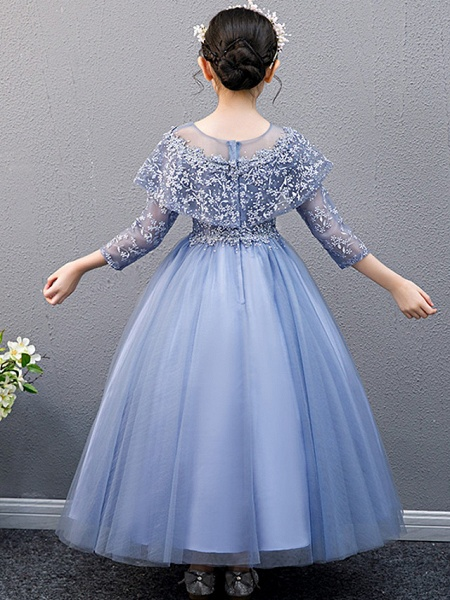 A-Line Ankle Length Christmas / Birthday Flower Girl Dresses - Lace Sleeveless Jewel Neck With Beading_4