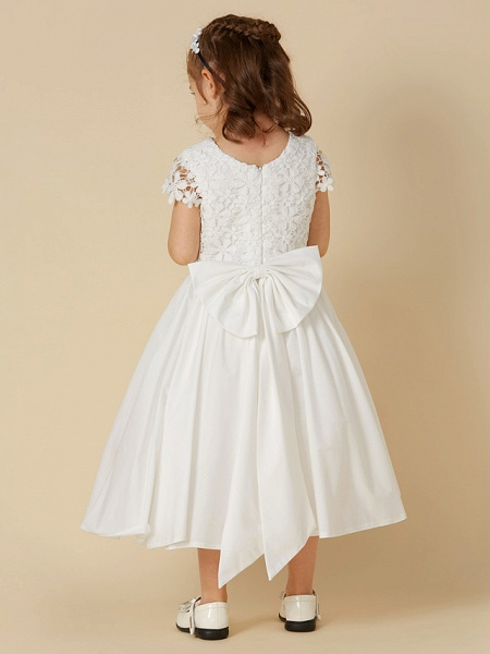 A-Line Knee Length Wedding / First Communion Flower Girl Dresses - Lace / Cotton Short Sleeve Scoop Neck With Bow(S)_2