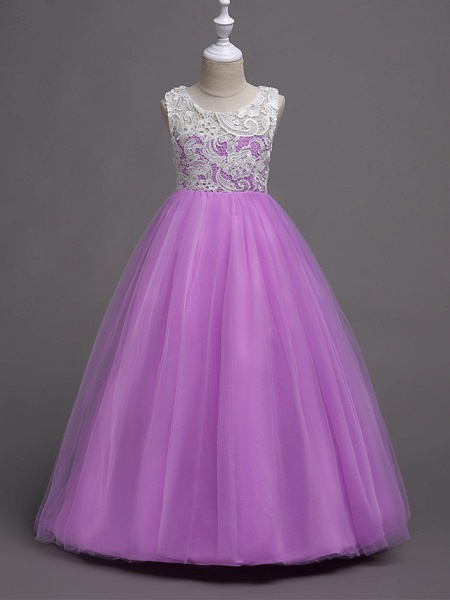 Princess Long Length Wedding / Party / Pageant Flower Girl Dresses - Lace / Satin / Tulle Sleeveless Jewel Neck With Lace_15