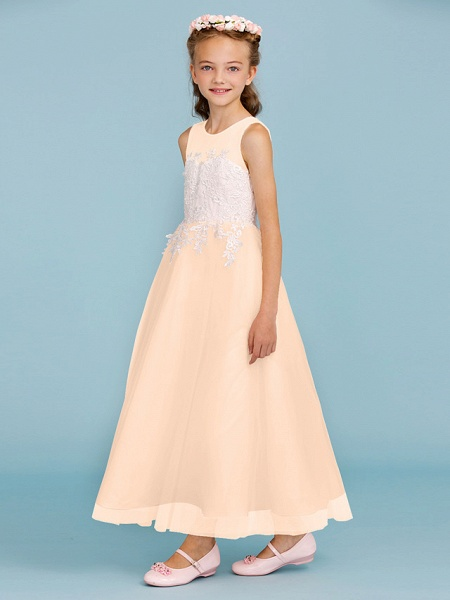 Princess / A-Line Jewel Neck Ankle Length Lace / Tulle Junior Bridesmaid Dress With Sash / Ribbon / Appliques / Wedding Party / Open Back_17