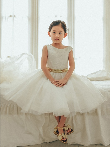 Ball Gown Tea Length Wedding / First Communion / Birthday Flower Girl Dresses - Lace / Tulle Sleeveless Jewel Neck With Bows / Belt_1