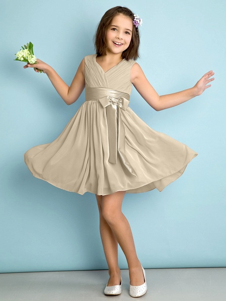 A-Line V Neck Knee Length Chiffon Junior Bridesmaid Dress With Bow(S) / Criss Cross / Natural_20