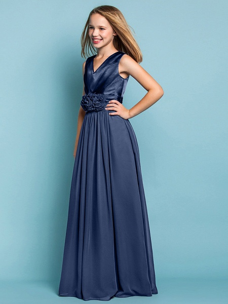 Sheath / Column V Neck Floor Length Chiffon Junior Bridesmaid Dress With Flower / Spring / Summer / Fall / Apple / Hourglass_9