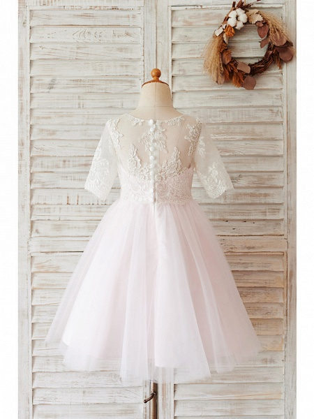Ball Gown Knee Length Wedding / Birthday Flower Girl Dresses - Lace / Tulle Half Sleeve Jewel Neck With Buttons_2