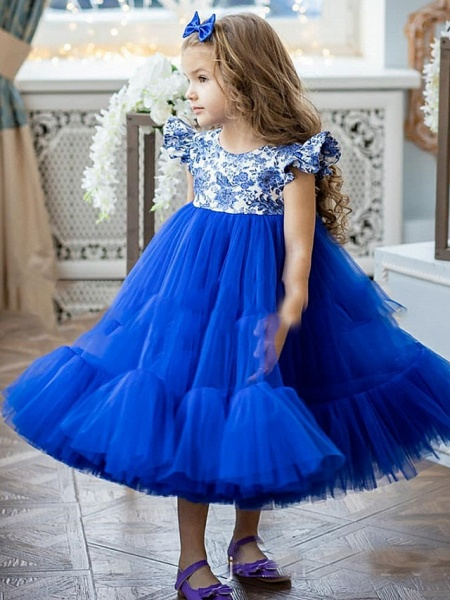 Princess / A-Line Ankle Length Party / Birthday Flower Girl Dresses - Tulle Short Sleeve Jewel Neck With Pattern / Print / Splicing_1