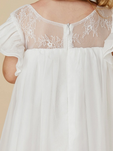 Sheath / Column Ankle Length Chiffon / Lace Short Sleeve Jewel Neck With Pleats_9
