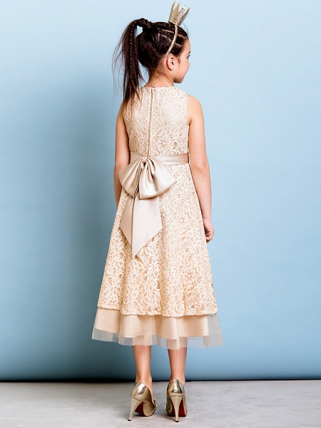 A-Line Jewel Neck Tea Length All Over Floral Lace Junior Bridesmaid Dress With Sash / Ribbon / Bow(S) / Flower / Natural_7