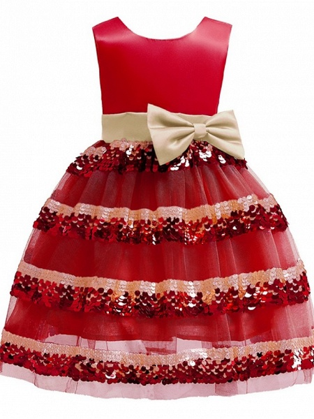 Ball Gown Knee Length Pageant Flower Girl Dresses - Polyester Sleeveless Jewel Neck With Bow(S)_1