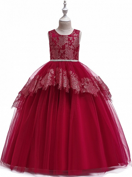 Princess Floor Length Wedding / Party / Pageant Flower Girl Dresses - Lace / Satin / Tulle Sleeveless Jewel Neck With Belt / Crystals / Beading_11