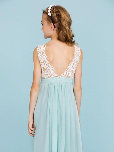 Sheath / Column V Neck Floor Length Chiffon / Lace Junior Bridesmaid Dress With Sash / Ribbon / Pleats / Color Block / Wedding Party / Open Back_6