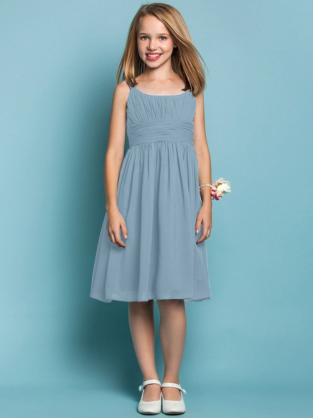 Sheath / Column Straps Knee Length Chiffon Junior Bridesmaid Dress With Ruched / Draping / Spring / Summer / Fall / Apple / Hourglass_30