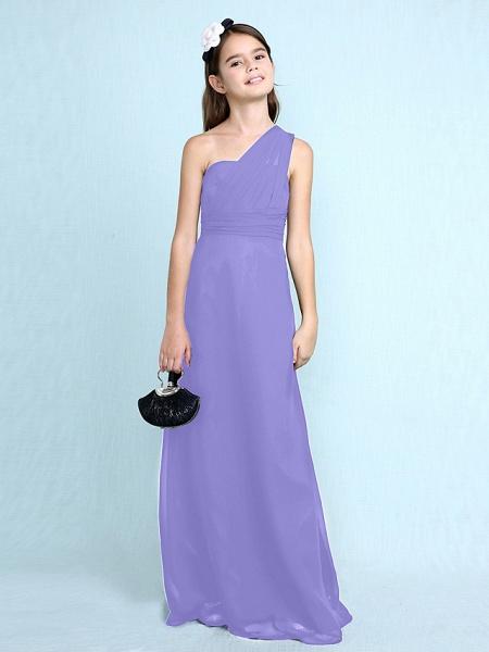 Sheath / Column One Shoulder Floor Length Chiffon Junior Bridesmaid Dress With Side Draping / Natural_41