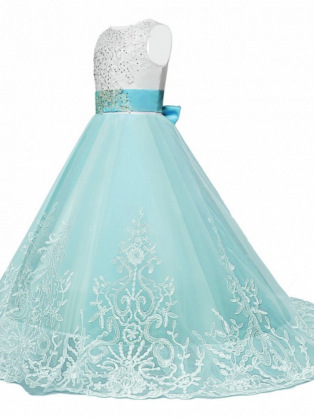 Princess Sweep / Brush Train / Long Length Wedding / Party / Pageant Flower Girl Dresses - Lace / Tulle Sleeveless Jewel Neck With Belt / Appliques_4