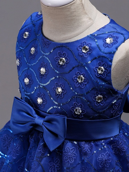 Princess Midi Wedding / Birthday / Pageant Flower Girl Dresses - Organza / Satin Sleeveless Jewel Neck With Bow(S) / Embroidery / Crystals / Rhinestones_11