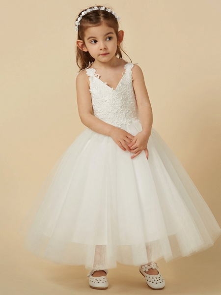 A-Line Knee Length Wedding / First Communion Flower Girl Dresses - Lace / Tulle Sleeveless V Neck With Bow(S)_6