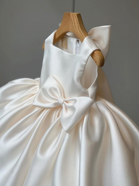 Princess / Ball Gown Short / Mini Wedding / Party Flower Girl Dresses - Satin Sleeveless Square Neck With Bow(S) / Pleats_6