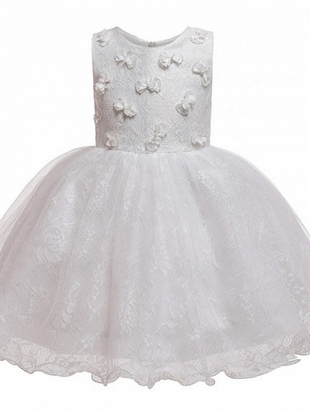 Princess / Ball Gown Knee Length Wedding / Party Flower Girl Dresses - Tulle Sleeveless Jewel Neck With Bow(S) / Appliques_10