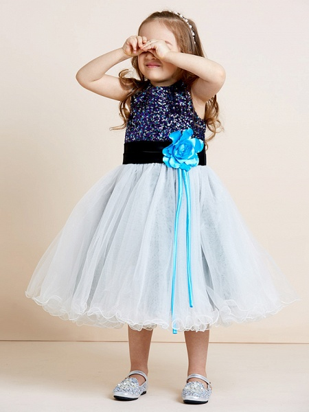 A-Line Tea Length Tulle / Sequined Sleeveless Jewel Neck With Sash / Ribbon / Sequin / Draping / Mini Me_7
