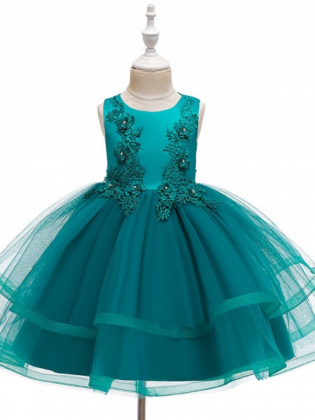 A-Line Knee Length Wedding / Party / Pageant Flower Girl Dresses - Tulle / Matte Satin / Poly&Cotton Blend Sleeveless Jewel Neck With Beading / Solid_6