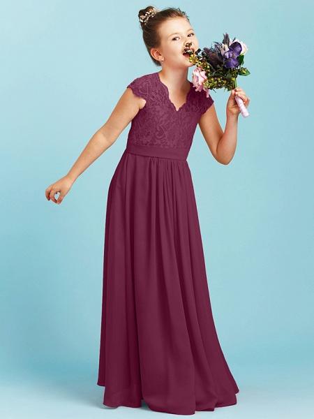 Princess / A-Line V Neck Floor Length Chiffon / Lace Junior Bridesmaid Dress With Sash / Ribbon / Pleats / Wedding Party_9