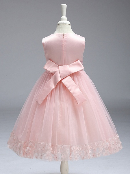 Ball Gown Knee Length Wedding / Party Flower Girl Dresses - Tulle Sleeveless Jewel Neck With Bow(S)_12