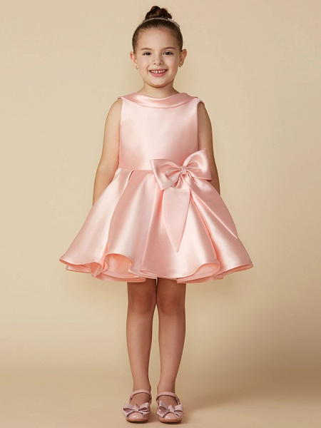Princess Above Knee Wedding / First Communion Satin Sleeveless Jewel Neck With Bows_6