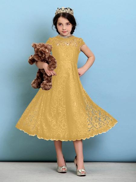 Princess / A-Line Jewel Neck Tea Length Lace Junior Bridesmaid Dress With Pleats / Natural_23