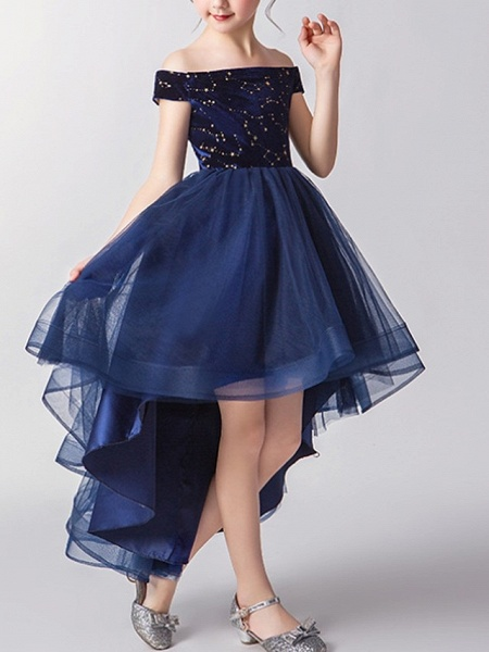 A-Line Asymmetrical Pageant Flower Girl Dresses - Tulle Short Sleeve Off Shoulder With Pattern / Print_2