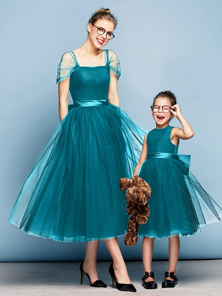 Princess Tea Length Party / Prom / Formal Evening Flower Girl Dresses - Tulle Short Sleeve Square Neck With Bow(S) / Ruched / Elegant_26