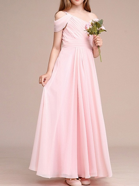 A-Line One Shoulder Ankle Length Chiffon Junior Bridesmaid Dress With Ruching_2