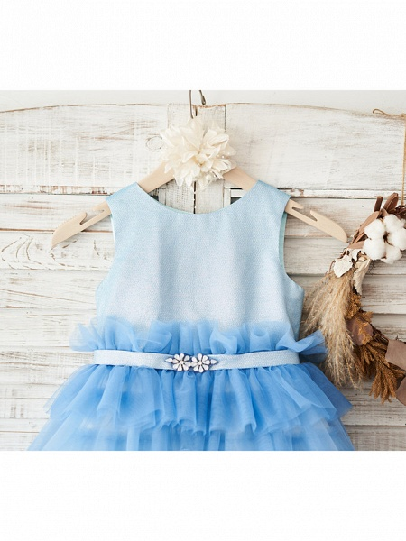 Ball Gown Knee Length Wedding / Birthday Flower Girl Dresses - Tulle Sleeveless Jewel Neck With Belt / Crystals_3