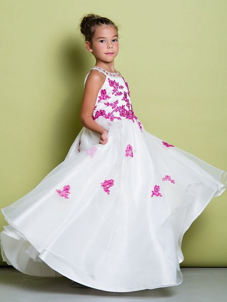 A-Line Floor Length Pageant Flower Girl Dresses - Organza Sleeveless Jewel Neck With Beading / Appliques_3