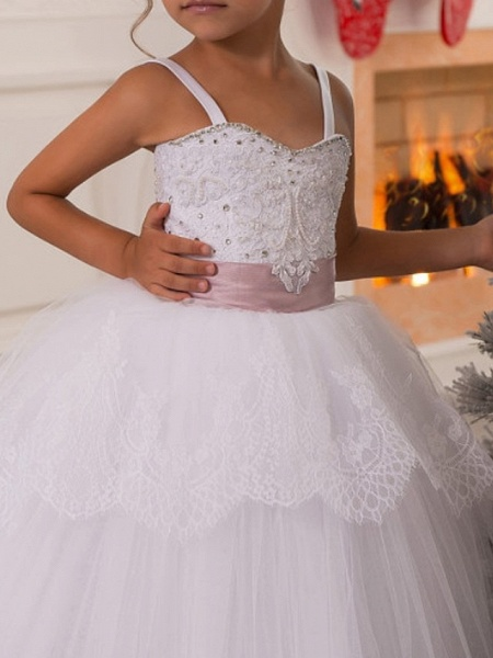 Ball Gown Floor Length First Communion Flower Girl Dresses - Polyester Sleeveless Spaghetti Strap With Lace_3